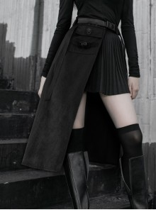 Steam Punk Female Belted Black Stitching Irregular Hem Long Skirt