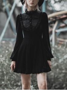 Gothic Female Black Velvet High Collar Lace Long Sleeve Dress