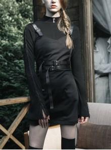 Steam Punk Female Black PU Leather Belt Strap Dress