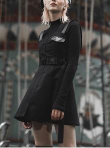 Steam Punk Female Black High Waist Belted PU Leather Strap Irregular Dress