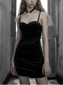 Steam Punk Female Black Velvet Close Fitting Strap Dress