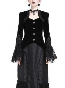 Embroidery Collar Front Metal Retro Button Long Sleeve Lace Hem Black Gothic Velvet Jacket