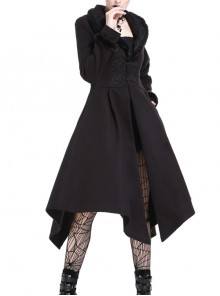 Embroidery Fur Collar Front Buckle Long Sleeve Frill Hem Black Gothic Coat