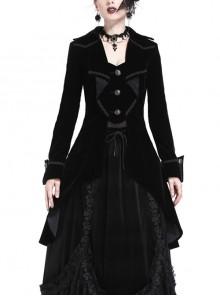 Front Chest Weave Strap Metal Retro Button Long Sleeve Pleated Hem Black Gothic Velvet Jacket