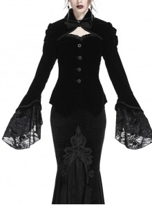 Front Chest Hollow-Out Retro Button Flare Sleeve Lace Cuff Back Lace-Up Black Gothic Velvet Jacket