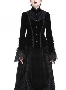 High Collar Front Chest Embroidery Metal Retro Button Flare Sleeve Lace Cuff Black Gothic Velvet Jacket