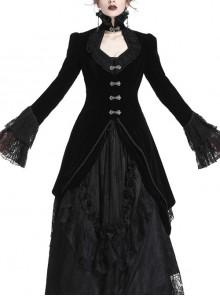 High Collar Front Metal Hasp Flare Sleeve Lace Cuff Swallowtail Hem Black Gothic Velvet Jacket