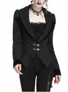 Double Collar Front Metal Hasp Long Sleeve Black Gothic Jacquard Jacket