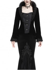 Stand-Up Collar Front Metal Retro Button Long Sleeve Lace Cuff Black Gothic Velvet Jacket