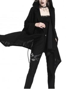 Black Long Sleeve Back Skull Print Lace-Up Punk Hooded Coat