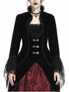 Stand-Up Collar Front Chest Frill Hollow-Out Metal Hasp Flare Sleeve Lace Hem Black Gothic Velvet Jacket