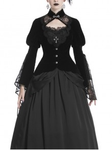 High Collar Front Chest Hollow-Out Lace Metal Retro Buckle Long Sleeve Lace Lace-Up Cuff Black Gothic Velvet Jacket