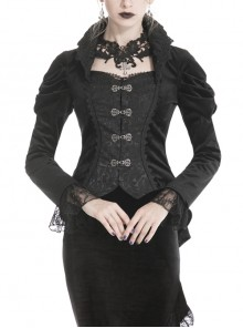 Stand-Up Collar Front Metal Hasp Long Sleeve Black Gothic Velvet Jacket