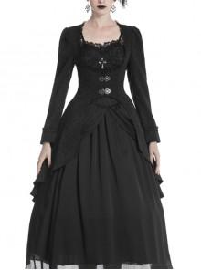 Large Frill Collar Front Metal Retro Hasp Long Sleeve Back Waist Lace-Up Black Gothic Jacquard Tailcoat Coat