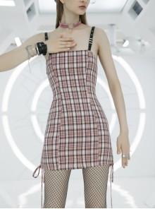 Steam Punk Female Cute Pink High Waist Black Strap Dress