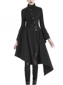 High Collar Oblique Placket Metal Button Flare Sleeve Lace-Up Cuff Irregular Hem Black Gothic Dress