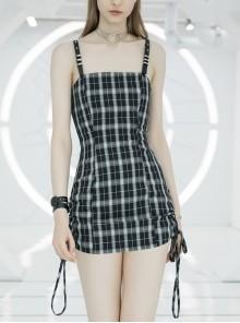 Steam Punk Female Black White Lattice High Waist Black Strap Dress