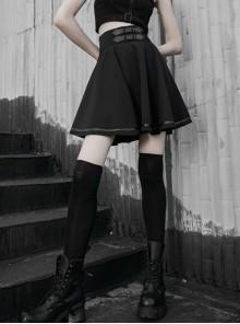 Steam Punk Female Casual Black High Waist Belted Skirt