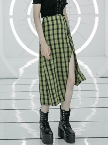 Steam Punk Female Cute Black Green Lattice Buckle Irregular Hem Long Skirt