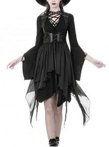 Front Metal Eyelets Strap Waist Lace-Up Sleeveless Irregular Hem Black Punk Chiffon Coat