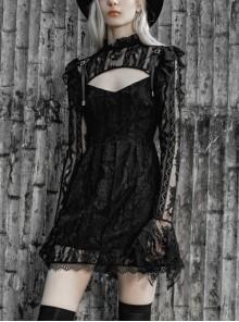 Gothic Female Dark Lace Stitching Hollow High Waist Dress