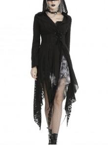 V-Neck Long Sleeve Waist Lace-Up Irregular Hem Black Punk Shredded Hooded Coat