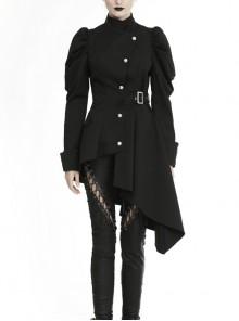 High Collar Oblique Placket Retro Button Metal Buckle Belt Long Sleeve Irregular Hem Black Punk Jacket