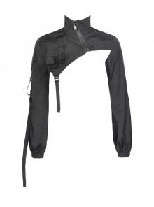 High Collar Oblique Metal Zipper Hasp Strap Long Sleeve Black Punk Short Coat