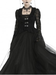 Frill Collar Front Chest Metal Hasp Flare Sleeve Swallowtail Hem Black Gothic Lace Coat