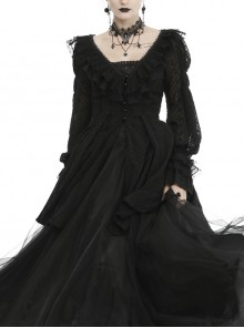 V-Neck Front Bead Button Long Sleeve Lace Cuff Back Lace-Up Black Gothic Chiffon Coat