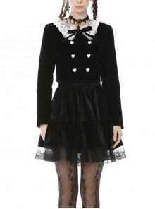 White Lace Doll Collar Front Chest Bow Heart-Shape Button Long Sleeve Black Gothic Short Jacket