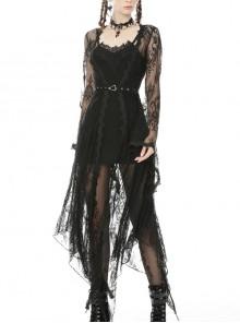 Black Metal Eyelets Belt Flare Sleeve Gothic Long Lace Coat