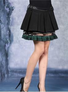 Metal Nail Strap Green Plaids Hem Black Punk Pleated Skirt