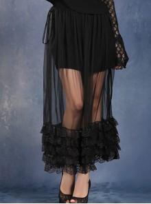 Side Lace-Up Lace Frill Hem Black Gothic Chiffon Long Skirt