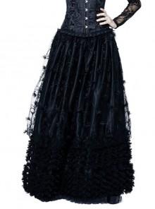 Budding Flowers Lace Hem Black Gothic Long Skirt
