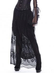 Black Gothic Lace-Up Hollow-Out Lace Long Skirt