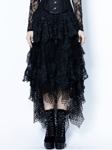 Messy Mesh Lace Irregular Hem Black Punk Long Skirt