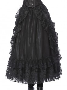 Lace-Up Lace Mesh Frill Black Gothic Long Skirt