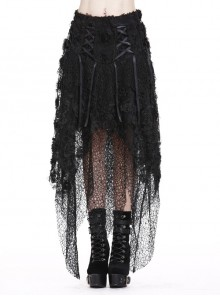 Disorderly Flower Mesh Lace-Up Irregular Hem Black Punk Long Skirt