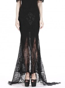 Lace Pattern Wrap-Up Buttocks Swallowtail Hem Black Gothic Long Skirt