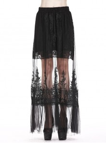 Lace-Up Lace Hollow-Out Black Gothic Long Skirt
