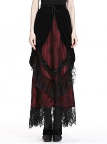 Black Red Gothic Lace-Up Wave Velvet Lace Hem Maxi Skirt
