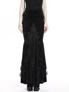 Black Gothic Frill Lace Fishtail Hem Velvet Tight Maxi Skirt