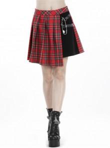 Red Punk Metal Eyelets Strap Irregular Hem Pleated Grid Skirt