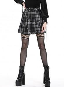 Star Embroidery Metal Eyelets Belt Chain Black Punk Pleated Grid Skirt