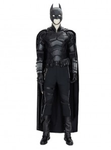 The Batman Bruce Wayne Black Battle Suit Halloween Cosplay Costume Set