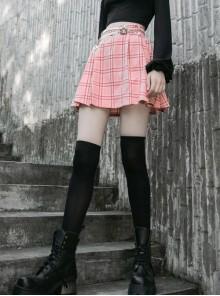 Steam Punk Female Pink White Lattice PU Leather Belt Metal Pendant Pleated Skirt