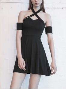Steam Punk Female Black Hollow Off-the-shoulder High Waist Dress