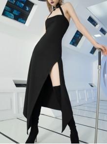 Steam Punk Female Black Strap Split Off-the-shoulder Elastic Dress