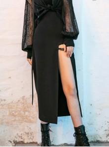 Steam Punk Female High Waist Casual Black Split Long Skirt